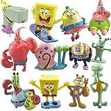 Figura de acción de Bob Esponja Juguetes muñecas Set colección de Modelos de PVC (12 Piezas)