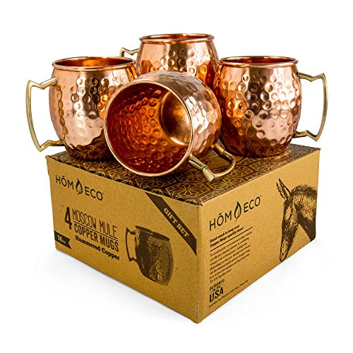 Copper Mugs Moscow Mule Set (Pack of 4 mugs), Pure Solid Copper No Nickel Lining, No Lead, Hammered Finish, 16 oz, by HomEco