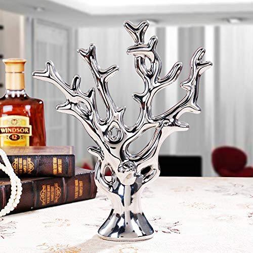 Estatua Sculpture Coral Creativas Figuras Estatua Ricos Europeos Figurilla De Árbol De Cerámica De Arte Salón Mesa Accesorios Navidad Oficina Bar Adornos De Plata