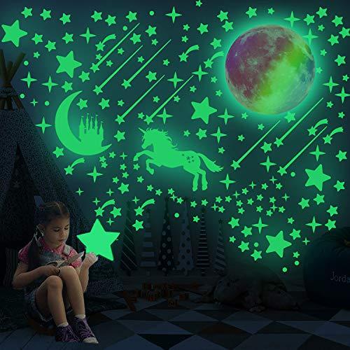 297 PSC Pegatinas de pared de unicornio realistas que brillan en la oscuridad luminosas de luna y estrella. Pegatinas de techo perfectas para decoración de habitación
