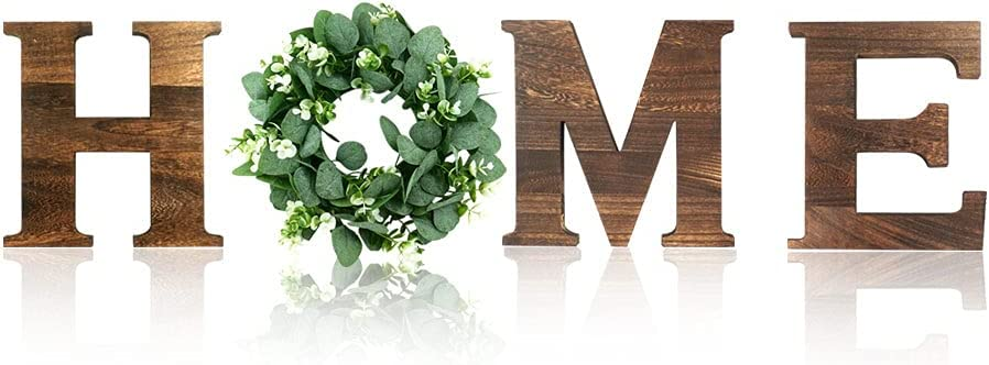 Wooden Letters Home with Wreath Wooden Home Sign Decorative Home Decor for Entrance Hall Room Wall Foyer Kitchen Cabinets Fireplace 9.8'Hx 8.5'W (Rustic Brown)