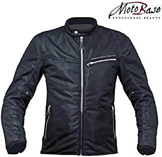 モトベース(MOTO BASE)春夏モデル メッシュジャケット クールメッシュシングルライダースジャケット MBMJ-02 【ブラック/L】