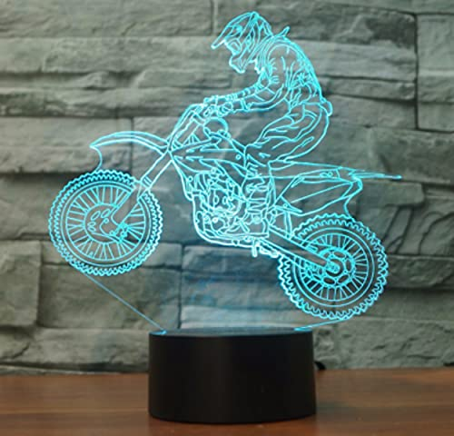 3D Ilusión óptica Lámpara LED motocicleta Luz de noche Deco 7 colores usb Decoracion Dormitorio escritorio mesa para niños adultos del partido cumpleaños Luces nocturnas de mesa