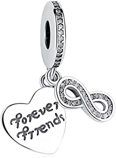 BEAUTY HEART Infinite Friend Charm 925 Sterling Silver Beads Fit Necklace and Bracelet