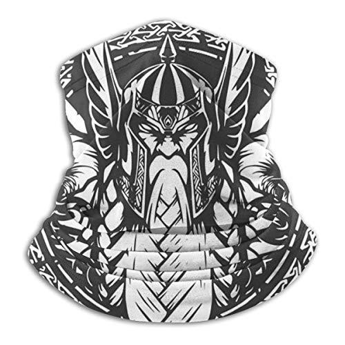 senob Ilustración de Dios Odin Estilo de Tatuaje en Vector Cómodo Cuello Polar Calentador Pasamontañas Capucha