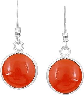 Handmade Earrings Designer Earrings Carnelian Earrings Womens Earrings Prong Set Earrings Round Circle Earrings Moonstone Earrings