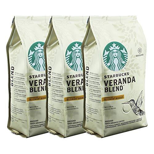 Starbucks Veranda Blend Kaffee, 3er Set, Blonde Roast, Röstkaffee, Mild mit Kakao-Noten, Gemahlen, 3 x 200 g