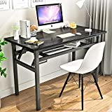 Folding Table Small Computer Desk YJHome 31.5' X 15.75' X 29' Student Study Writing Desk Latop Foldable Desk Black Portable No Assembly Required Adjustable Legs for Small Spaces Home Office School