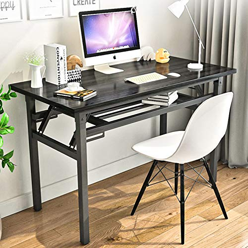 YJHome Small Computer Desk 31.5 X 15.75 X 29 Inches Foldable Black Portable No Assembly Required Adjustable Legs for Small Spaces