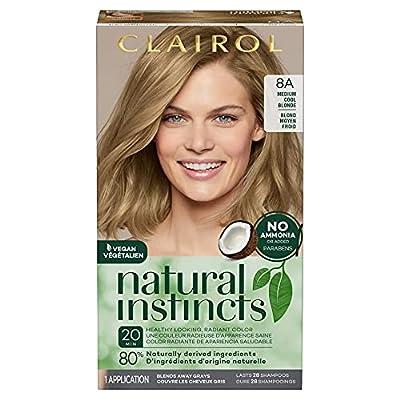 Clairol Natural Instincts Semi-Permanent, 8A Medium Cool Blonde, Linen, 1 Count