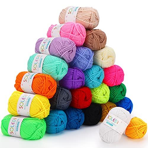 SOLEDI Acrílico Hilo de Algodón 24 Colores 40g Premium Ovillos de Lanas de Hilo para DIY Tejer y Ganchillo con Gratis Ganchillo y Bolsa de Almacenamiento