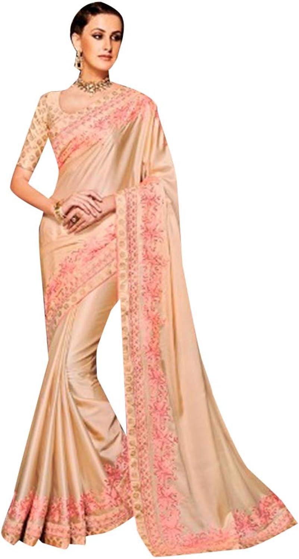 Ethnic Designer Muslin Satin Saree Sari with elegant Embroidery Indian Muslim Diwali Navratri Festive 7229 4