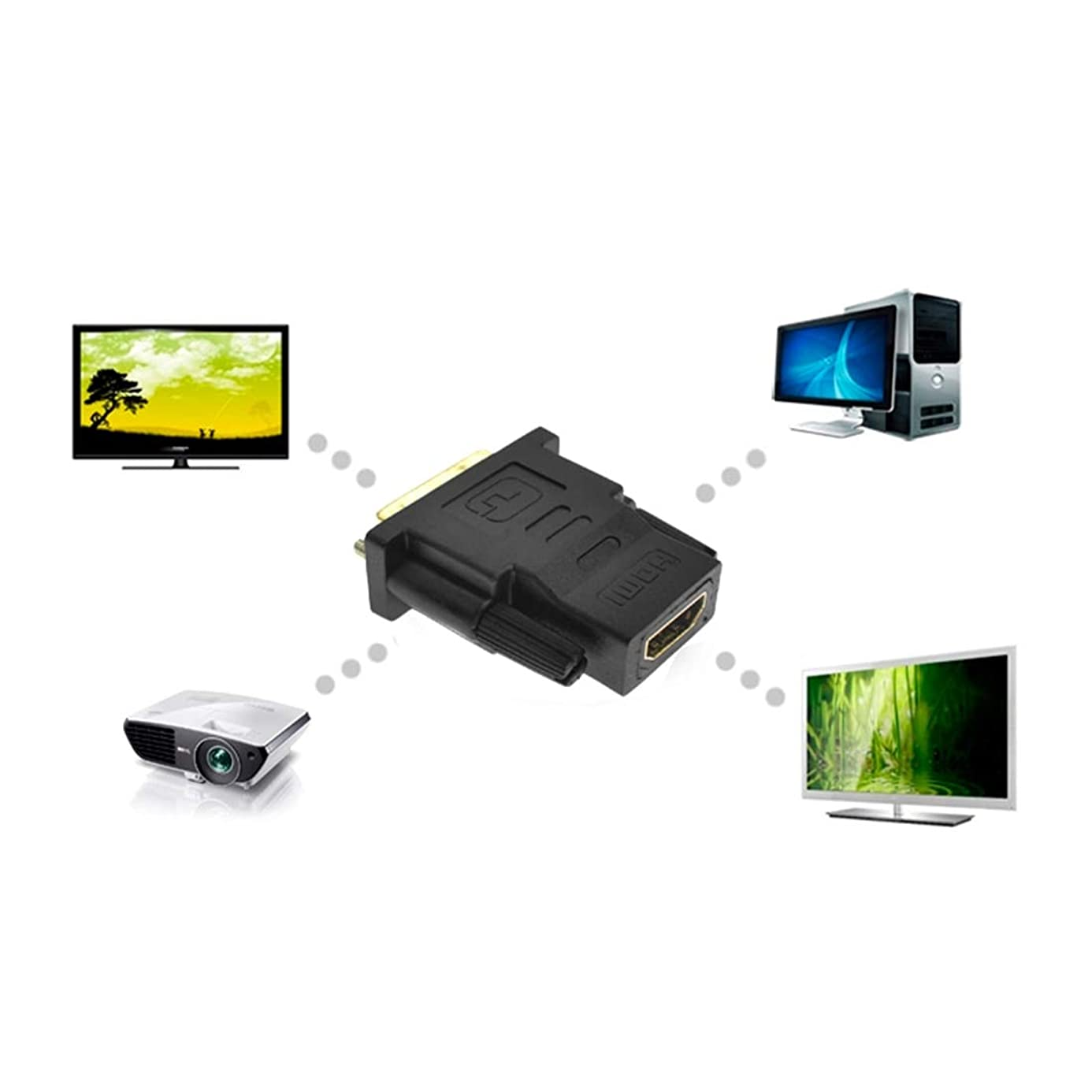 Kavas - Gold DVI 24+1 HDMI Convert Male to Female Adapter Converter Cable Cabo for HDTV LCD