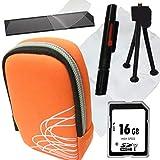 1A Photo PORST - Juego de funda para cámara Canon Ixus 285 (incluye protector de pantalla, tarjeta SD de 16 GB, gamuza de microfibra, mini trípode y Pluma para limpieza), color naranja