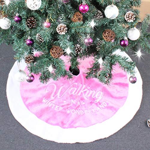 ShiyiUP Christbaumdecke Weihnachtsbaum Tannebaum Rock aus Plüsch Unterlage Weihnachtsfeier Dekoration,Rosa#,90cm
