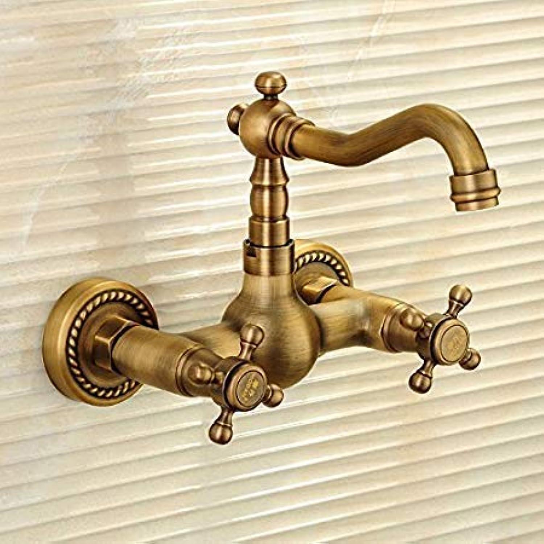 Oudan Taps Antique Faucet Copper Hot Tap Into The European Wall Double Tap Taps (color   -, Size   -)