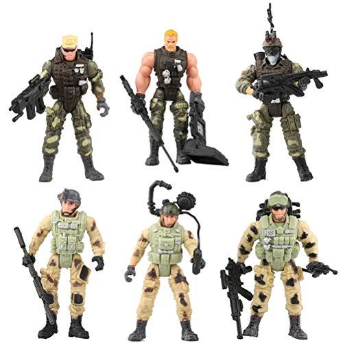 Deeabo 6 Stück Soldat Spielzeug Bewegliche Soldat Actionfiguren, Bewegliche Actionfigur Realistische Armee Spielzeug Soldat Modell Soldat Polizei Cs Puppe für Kinder Junge Party Begünstigt
