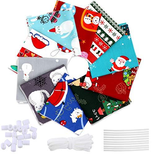 Pwsap 10 st polycotton bunt med jultomten snögubbe julgran mjuka tyger, gör-det-själv-kvadrater bomullstyg lapptäcke med näsbron klämma remsa elastiskt rep för quiltning sömnad konst 25 x 25 cm