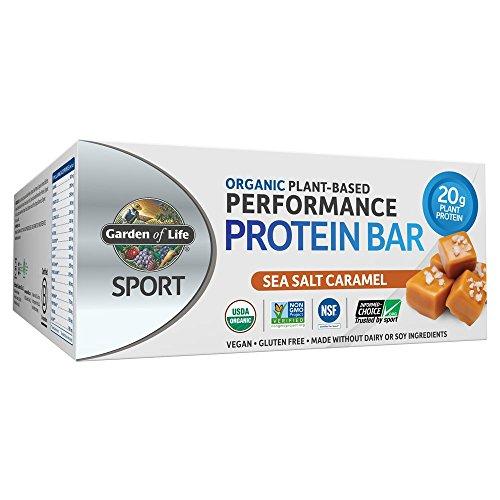 Price comparison product image Garden of Life Sport Protein Bars,  Organic Plant Based High Protein Bars - Sea Salt Caramel,  20g Pure Protein per Bar,  3.5g BCAAs,  7g Fiber,  Vegan,  Organic,  Gluten Free,  Certified Clean