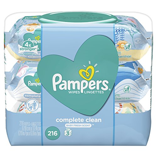 Pampers Baby Wipes Complete Clean Baby Fresh Scent 3X Pop-Top 216 Count