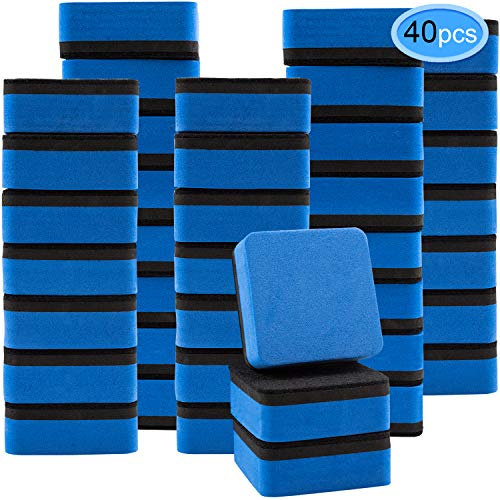 EAONE 40 Pack Magnetic Whiteboard Dry Eraser Chalkboard Cleaner Square Shape Board Wiper Erase Pens and Markers for Classroom Home Office, Blue