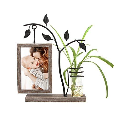 Afuly Holz Bilderrahmen 10x15 cm Doppelseitig Fotorahmen mit Vase und Metall Baum Braun Familie Geschenk