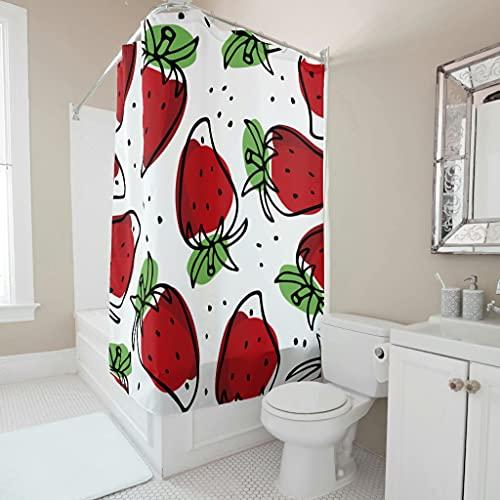 Sweet Luck Erdbeere Obst Duschvorhang Anti-Schimmel Wasserdicht Waschbar Stoff Duschvorhänge Polyester Textil Shower Curtain mit Duschvorhangringen für Badewanne White 180x200cm
