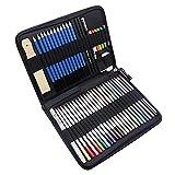 Lápices de carbón,Fesjoy Juego de lápices de colores de 51 piezas Lápices de dibujo y kit de bocetos Incluye lápices de colores metálicos Lápices de colores solubles en agua Bocetos Sacapuntas de