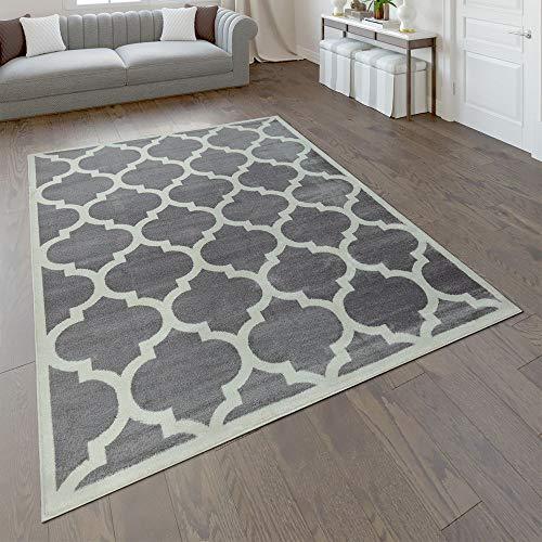 Paco Home Designer Teppich Marokkanisches Muster Kurzflorteppich Modern Trend Grau Weiß, Grösse:120x170 cm