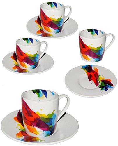 1 Set _ Espresso - Henkeltasse -  on Colour Flow / Bunte Design Farbe  - klein - 90 ml - Keramik / Porzellan - Farbmix - Kaffeetasse - Tasse Becher - Trinkt..