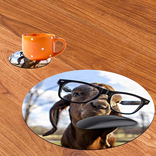 Personalized Round Mouse Pad and Coaster Set, Funny Goat Design Round Non-Slip Rubber Mouse Pads Office Desk Accessories for Computers Laptop