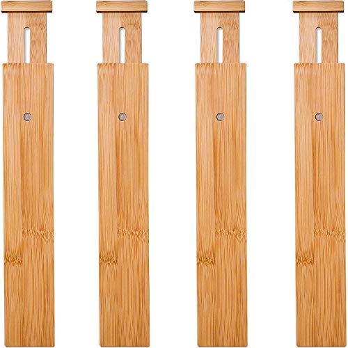 Wa-Very Bambus Küche Schublade Teiler Schubladen-Organisatoren Erweiterbare Schubladen-Teiler Holz Schreibtisch Schublade Organisatoren, Fach Organizer für Küche, Baby Schublade, Badezimmer