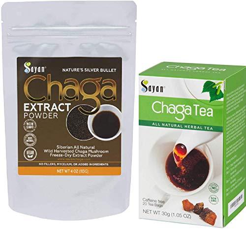 Sayan Siberian Wild harvested Chaga Mushroom Extract Powder and Chaga Tea - Antioxidant, Caffeine Free 4 Oz Package + 20 Tea Bags