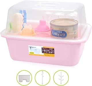 OLizee Baby Bottle Drying Racks with Anti-dust Cover Large Nursing Bottle Storage Box Baby Dinnerware Organizer, Light Pink