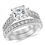 2 Ctw 14K White Gold Three Stone Vintage With Milgrain & Filigree Bridal Set with Wedding Band & GIA Certified Princess Cut Diamond Engagement Ring (1 Ct Center D-E Color VVS1-VVS2 Clarity)