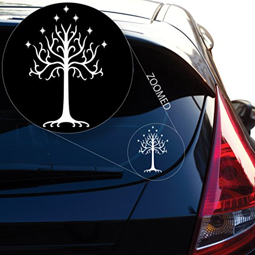 """Yoonek Graphics Tree of Gondor Decal Sticker from Lord of The Rings for Car Window, Laptop, Motorcycle, Walls, Mirror and More. # 545 (6"""" x 4"""", White)"""