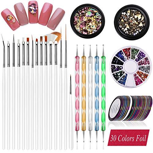 JOYJULY Nageldesign-Zubehör, 30 Streifenband und 15 Pinsel-Set für Nagelkunst und 5 Punktstifte & 3 3D-Nagelkunst-Strasssteine, Nageldesign-Zubehör, Dekoration, Diamantfolie