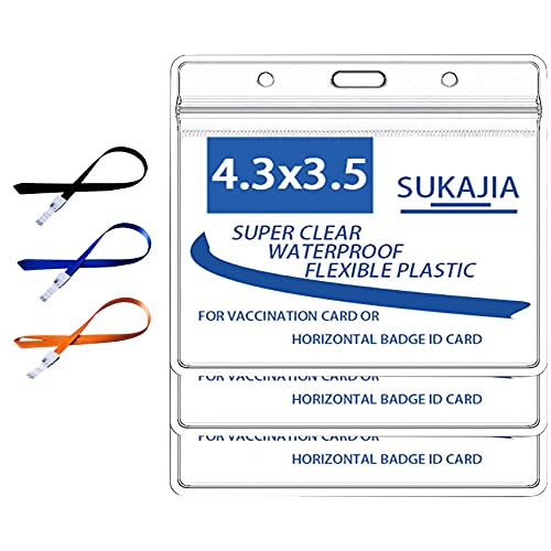 """SUKAJIA Card Holder 4"""" X 3"""" Plastic Clear Record ID Name Tag Badge Card Protector with Lanyard and PVC Sleeve Waterproof Type with Resealable Zip( Large)(3)"""