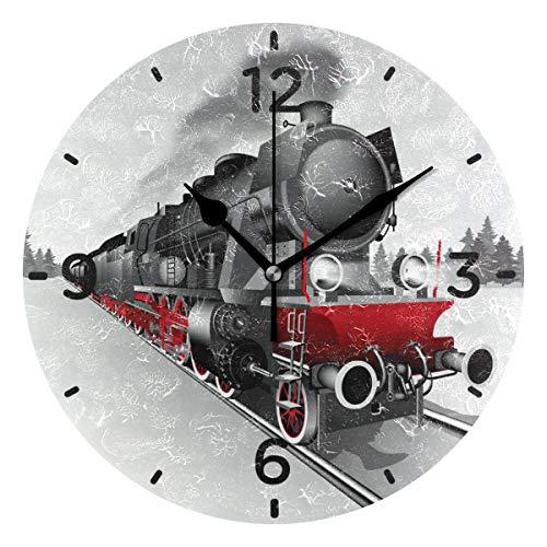Sennsee Wanduhr mit Eisenbahn aus Acryl, dekorative runde Uhr, Dekoration für Wohnzimmer, Schlafzimmer