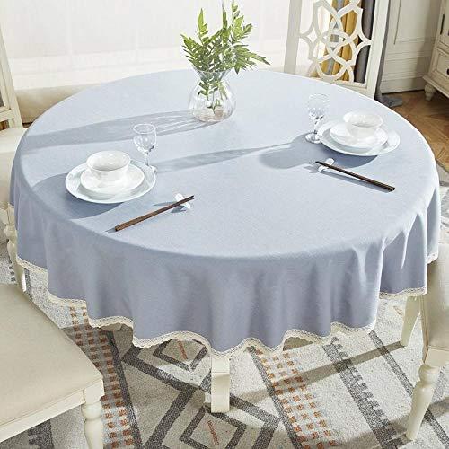 Onderhoudsvriendelijk, vuilafstotend, hoge temperatuurbestendigheid. Kleur en grootte naar keuze, rond tafelkleed van katoen en linnen, stofbeschermingsdoek 6 cm, diameter 160 cm.