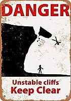 なまけ者雑貨屋 Danger Unstable Cliffs メタルプレート レトロ アメリカン ブリキ 看板 バー ビール おしゃれ インテリア