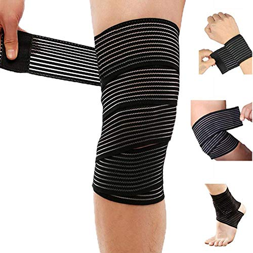 Extra Long Elastic Compression Knee Brace Wrap for patellar Tendon Support Strap for Plantar Fasciitis, Stabilising Ligaments, Joint Pain, Swelling Sprains, Squat, Basketball, Running, Tennis