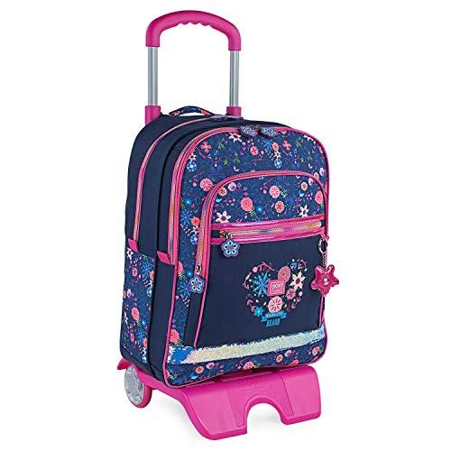 SKPAT - Schoolrugzak met kinderwagen voor meisjes Gewatteerd denim canvas bedrukt met sleutelhanger een set cadeau, school, garantie, praktische en comfortabele kwaliteit 131591, Color Marine