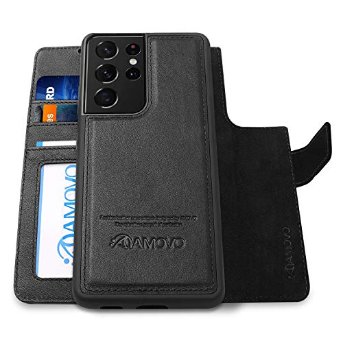 AMOVO Leather Case for Samsung Galaxy S21 Ultra Wallet Case [2 in 1 Detachable][Vegan Leather][Card Slot][Stand Feature] Magnetic Flip Folio Case for Galaxy S21Ultra (6.8'') (Genuine Leather, Black)
