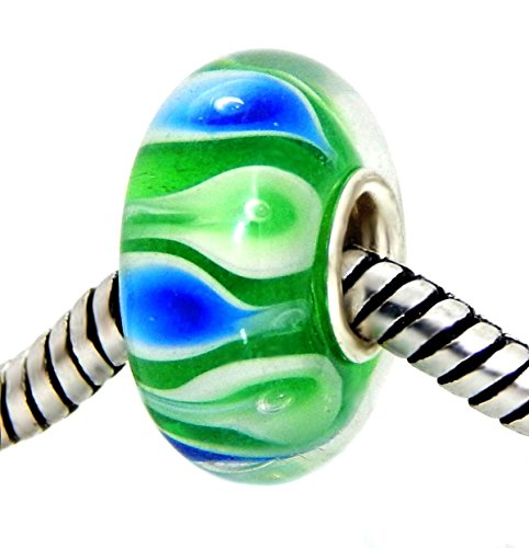 J&M Handmade Blue and Green Calla Lily Flowers Murano Glass Charm Bead for Bracelets