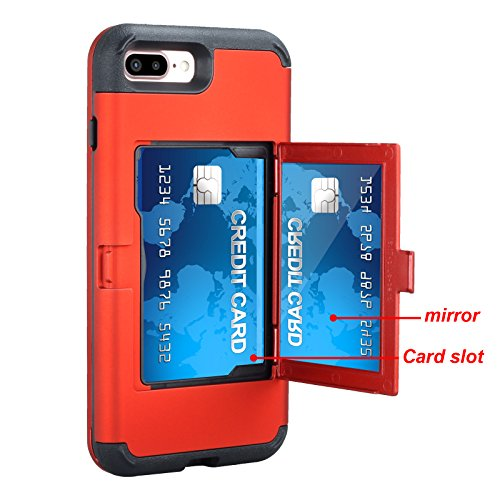 Shockproof iPhone 8 Case,iPhone 7 Case Hybrid Red,Gostyle 3 in 1 Hard PC + Soft Rubber Heavy Duty Drop Protection Armor Protective Case with Wallet Card Holder and Hidden Makeup Mirror