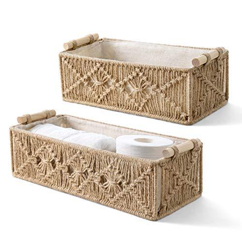 Mkono Macrame Storage Baskets Decor Box Handmade Woven Decorative Countertop Toilet Tank Shelf Cabinet Organizer Boho Decor for Bedroom Nursery Livingroom Set of 2, Brown