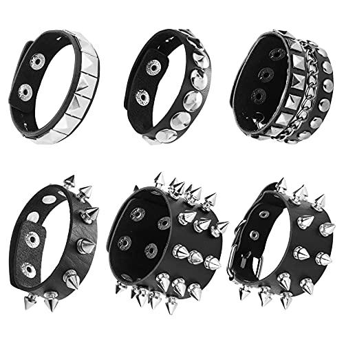 JeweBella 6 Stück Punk Armband Nieten für Herren Damen Goth Breit Lederarmband Schwarz Set Rock Biker Armband Manschette Spikes Halloween Gothic Schmuck