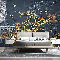 mzznz カスタム壁紙壁画中国金線画風景梅の花国潮建物テレビ背景壁-250X175Cm