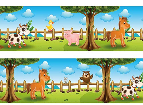 wandmotiv24 Bordüre Tiere auf dem Bauernhof 260cm Breite - Selbstklebend Borte Tapetenbordüre Bordüren Borde Wandborde Kinder Bauernhof Pferd M0011
